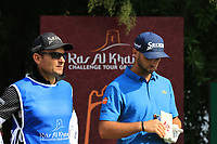 Adri Arnaus (ESP) and caddie Ignacio Garrido during the first round of the Ras Al Khaimah Challenge Tour Grand Final played at Al Hamra Golf Club, Ras Al Khaimah, UAE. 31/10/2018<br />