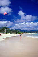 Kitesurfer and people enjoying Kailua beach