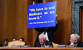 United States Senator Bernie Sanders (Independent of Vermont) uses a graphic to make a point as he makes his opening statement prior to hearing testimony by US Representative Mick Mulvaney (Republican of South Carolina) during hearing considering Mulvaney's nomination of to be Director, White House Office of Management and Budget (OMB) on Capitol Hill in Washington, DC on Tuesday, January 24, 2017.<br /> Credit: Ron Sachs / CNP