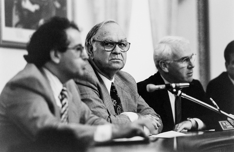 Rep. Joe Moakley, D-Mass., Norman Ornstein, and Rep. Victor H. Fazio, D-Calif., in the House Rules Committee on Sept. 9, 1993. (Photo by Chris Martin/CQ Roll Call)