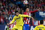 Alvaro Gonzalez of Villarreal battles for an aerial ball Fernando Torres of Atletico de Madrid during the match of La Liga between Atletico de Madrid and Villarreal at Vicente Calderon  Stadium  in Madrid, Spain. April 25, 2017. (ALTERPHOTOS/Rodrigo Jimenez)