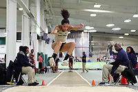 """WINSTON-SALEM, NC - FEBRUARY 07: Robbie Grace of Wake Forest University was the top collegiate finisher in the Women's Long Jump with a jump of 5.87 meters (19'3.25"""") at JDL Fast Track on February 07, 2020 in Winston-Salem, North Carolina."""