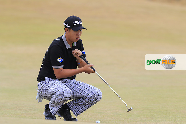 Byeong HUN-AN (KOR) on the 1st green during Thursday's Round 1 of the 2015 U.S. Open 115th National Championship held at Chambers Bay, Seattle, Washington, USA. 6/18/2015.<br /> Picture: Golffile | Eoin Clarke<br /> <br /> <br /> <br /> <br /> All photo usage must carry mandatory copyright credit (&copy; Golffile | Eoin Clarke)