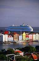 "Royal Caribbean cruise ship ""Adventure of the Seas"" departs Willemstad, Curacao, Netherlands Antilles"