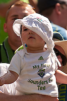 This young fan celebrates the Seattle Sounders 2-1 victory over the Houston Dynamo at the XBox Pitch at Quest Field on July 11, 2009.