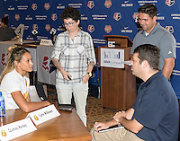 Houston, TX - Thursday Oct. 06, 2016: Lynn Williams during media day prior to the National Women's Soccer League (NWSL) Championship match between the Washington Spirit and the Western New York Flash at BBVA Compass Stadium.