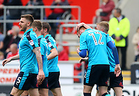 Cian Bolger of Fleetwood Town celebrates scoring his sides second goal during the Sky Bet League 1 match between Rotherham United and Fleetwood Town at the New York Stadium, Rotherham, England on 7 April 2018. Photo by Leila Coker.