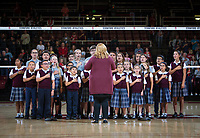 STANFORD, CA - November 2, 2018: Choir at Maples Pavilion. No. 1 Stanford Cardinal defeated No. 15 Colorado Buffaloes 3-2.