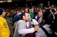 Landon Donovan, USA Fans. The USMNT tied Costa Rica, 2-2, during the FIFA World Cup Qualifier at  RFK Stadium, in Washington, DC.   With the result, the USMNT qualified for the 2010 FIFA World Cup Finals in South Africa.