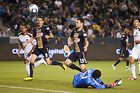 Philadelphia Union's Sebastien Le Toux (9) and Jack McInerney (19) can only watch as they narrowly miss a goal. The LA Galaxy defeated the Philadelphia Union 1-0 at Home Depot Center stadium in Carson, California on  April  2, 2011....