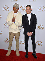 Pharrell Williams &amp; Rami Malek at the 2017 Producers Guild Awards at The Beverly Hilton Hotel, Beverly Hills, USA 28th January  2017<br /> Picture: Paul Smith/Featureflash/SilverHub 0208 004 5359 sales@silverhubmedia.com