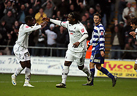 ATTENTION SPORTS PICTURE DESK<br /> Pictured: Jason Scotland of Swansea (9) celebrating his second goal against Doncaster with team mate Nathan Dyer  (L)<br /> Re: Coca Cola Championship, Swansea City FC v Doncaster Rovers at the Liberty Stadium. Swansea, south Wales, Saturday 21 February 2009<br /> Picture by D Legakis Photography / Athena Picture Agency, Swansea 07815441513