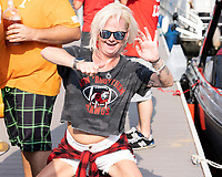 KNOXVILLE, TN - OCTOBER 5: Georgia fan celebrates prior to the game during a game between University of Georgia Bulldogs and University of Tennessee Volunteers at Neyland Stadium on October 5, 2019 in Knoxville, Tennessee.