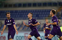 Football, Serie A: S.S. Lazio - Fiorentina, Olympic stadium, Rome, June 27, 2020. <br /> Fiorentina's Frank-Henry Ribéry (c) celebrates after scoring with his teammates Milan Badelj (l) and Pol Mikel Lirola (r) during the Italian Serie A football match between S.S. Lazio and Fiorentina at Rome's Olympic stadium, Rome, on June 27, 2020. <br /> UPDATE IMAGES PRESS/Isabella Bonotto