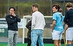 ALMERE - Hockey - Hoofdklasse competitie heren. ALMERE-HGC (0-1) . coach Jan Jorn van 't Land (HGC) met Floris van der Linden (HGC),  na de wedstrijd.  . COPYRIGHT KOEN SUYK