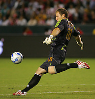CD Chivas USA Goal Keeper Brad Guzan (18) kicks a ball downfield late in the second half. CD Chivas USA defeated the LA Galaxy in the Super Clasico 3-0 at the Home Depot Center in Carson, CA, Thursday, September 13, 2007.