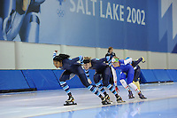 SCHAATSEN: SALT LAKE CITY: Utah Olympic Oval, 13-11-2013, Essent ISU World Cup, training, Anice Das (NED), Manon Kamminga (NED), Anouk van der Weijden (NED), ©foto Martin de Jong