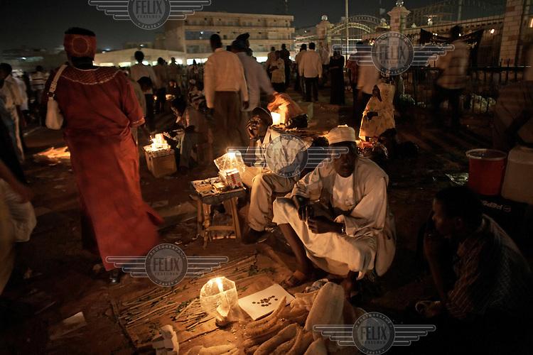 Vendors sell their wares at Souq Al-Arabi in central Khartoum.