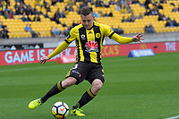 Scott Galloway crosses during the A-League football match between Wellington Phoenix and Adelaide United FC at Westpac Stadium in Wellington, New Zealand on Sunday, 8 October 2017. Photo: Dave Lintott / lintottphoto.co.nz