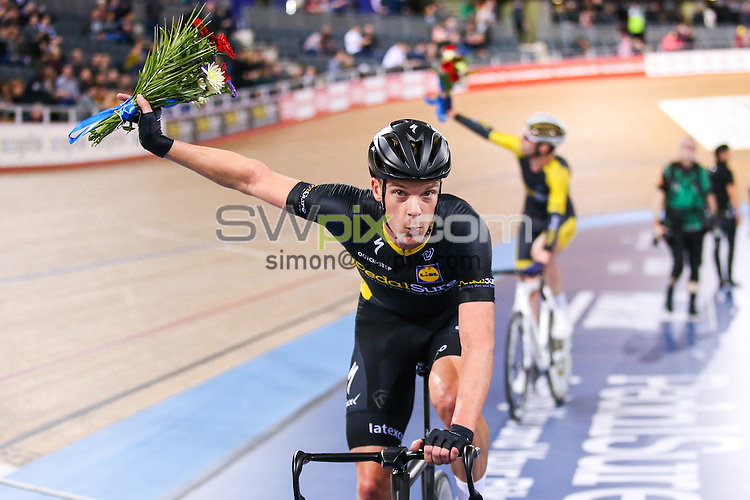 Picture by Alex Whitehead/SWpix.com - 02/12/2016 - Track Cycling - Revolution Champions League - Lee Valley Velopark, London, England - Iljo Keisse and Andy Tennant of PedalSure win the Men's Team Elimination race.