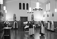 Nuns gather for prayer and song on June 29, 2018—which is typically hidden from the public eye—during one of seven times the 11 nuns gather together daily at the Carmelite Monastery.