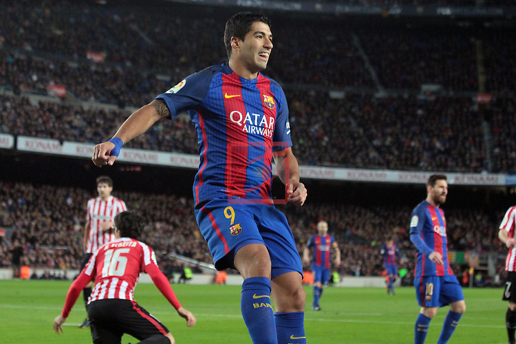 Copa del Rey 2016/2017 - 1/8 final vuelta.<br /> FC Barcelona vs Athletic Club: 3-1.<br /> Luis Suarez.