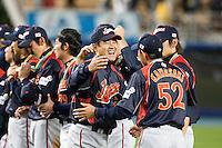 23 March 2009: Manager Tatsunori Hara of Japan celebrates with #52 Munenori Kawasaki after defeating Korea during the 2009 World Baseball Classic final game at Dodger Stadium in Los Angeles, California, USA. Japan defeated Korea 5-3