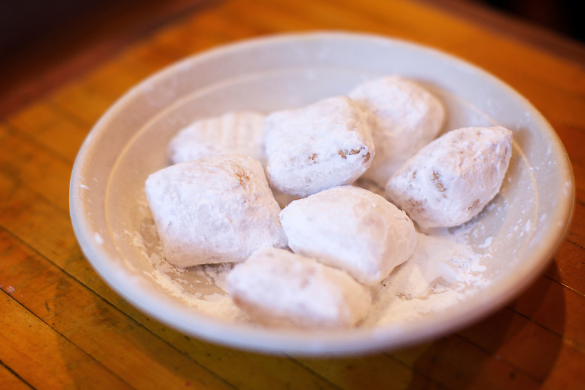 BROOKLYN, NY - January 28, 2017:  Beignets, a weekend special, at The Gumbo Bros., a Cajun restaurant in Boerum Hill.<br /> <br />  <br /> Credit: Clay Williams for The New York Times.<br /> <br /> &copy; Clay Williams / http://claywilliamsphoto.com