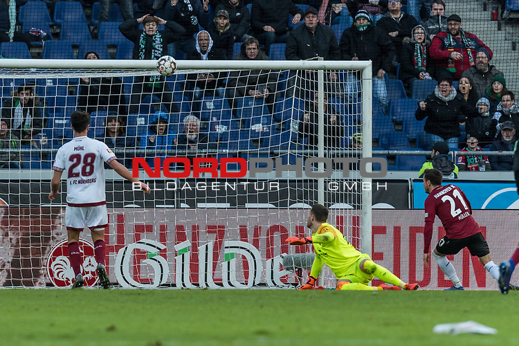 09.02.2019, HDI Arena, Hannover, GER, 1.FBL, Hannover 96 vs 1. FC Nuernberg<br /> <br /> DFL REGULATIONS PROHIBIT ANY USE OF PHOTOGRAPHS AS IMAGE SEQUENCES AND/OR QUASI-VIDEO.<br /> <br /> im Bild / picture shows<br /> Tor 1:0, Nicolai Müller / Mueller (Neuzugang Hannover 96 #21) lupft den Ball über Lukas Mühl / Muehl (Nuernberg #28) hinweg ins Tor zum 1:0 Halbzeitstand, <br /> <br /> Foto © nordphoto / Ewert