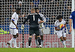 Loic Remy of Chelsea (r) celebrates scoring their first goal past Kasper Schmeichel of Leicester City - English Premier League - Leicester City vs Chelsea - King Power Stadium - Leicester - England - 14th December 2015 - Picture Simon Bellis/Sportimage