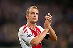 Nederland, Amsterdam, 24 oktober  2012.Champions League.Seizoen 2012-2013.Ajax-Manchester City 3-1.aanvoerder Siem de Jong bedankt de supporters na de 3-1 overwinning op Manchester City