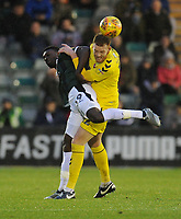 Fleetwood Town's Cian Bolger vies for possession with Plymouth Argyle's Freddie Ladapo<br /> <br /> Photographer Kevin Barnes/CameraSport<br /> <br /> The EFL Sky Bet League One - Plymouth Argyle v Fleetwood Town - Saturday 24th November 2018 - Home Park - Plymouth<br /> <br /> World Copyright © 2018 CameraSport. All rights reserved. 43 Linden Ave. Countesthorpe. Leicester. England. LE8 5PG - Tel: +44 (0) 116 277 4147 - admin@camerasport.com - www.camerasport.com