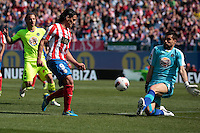 01.04.2012 MADRID, SPAIN -  La Liga match played between At. Madrid vs Getafe (3-0) at Vicente Calderon stadium. the picture show Radamel Falcao Garcia (Colombian striker of At. Madrid) and Miguel Angel Moya (Spanish goalkeeper of Getafe)