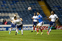 Luke O'Nien of Wycombe Wanderers heads towards Marcus Bean of Wycombe Wanderers during the FA Cup 1st round match between Portsmouth and Wycombe Wanderers at Fratton Park, Portsmouth, England on the 5th November 2016. Photo by Liam McAvoy.