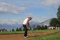 Miguel Angel Jiminez (ESP) on the 17th during the 1st day of the Omega European Masters, Crans-Sur-Sierre, Crans Montana, Switzerland..Picture: Golffile/Fran Caffrey..