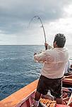 Deep sea fishing off the coast of Kiritimati in Kiribati