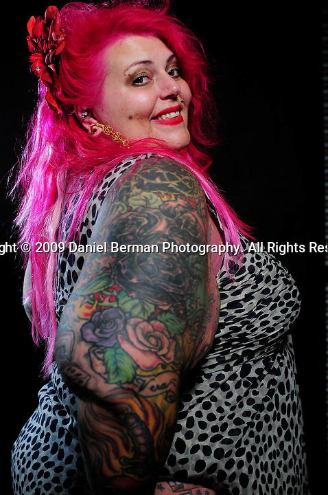 poses for a portrait during day 1 of the Seattle Tattoo Expo at Seattle Center Friday August 7, 2009. The expo continues until Sunday evening. Photo by Daniel Berman/SeattlePI.com