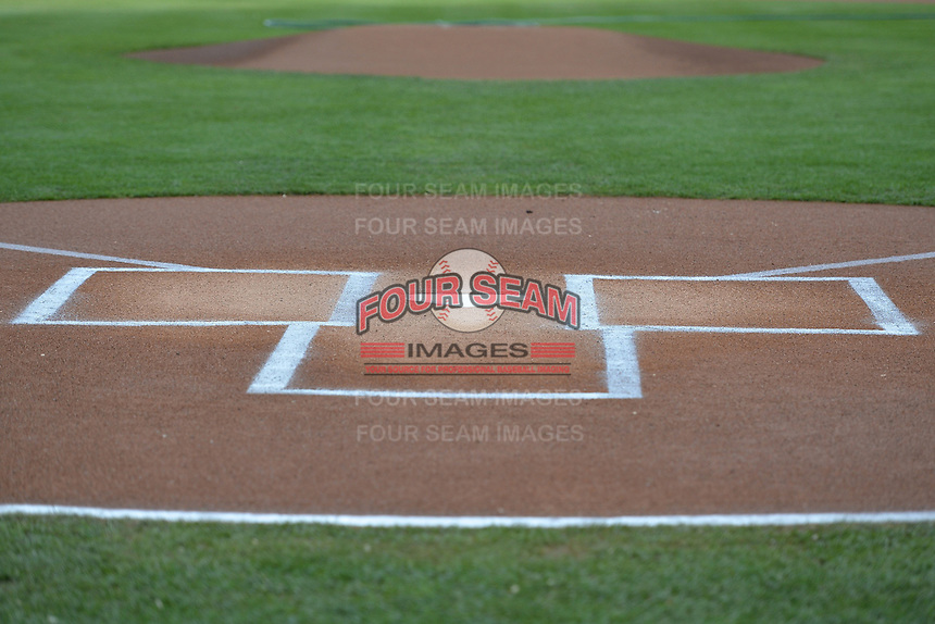 Home plate at Smith's Ballpark as the Salt Lake Bees prepared to take on the Reno Aces in Pacific Coast League action at Smith's Ballpark on May 4, 2014 in Salt Lake City, Utah.  (Stephen Smith/Four Seam Images)