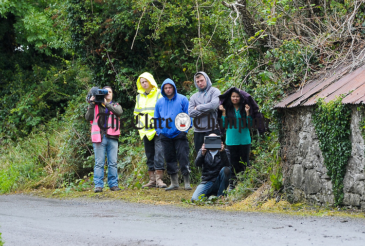 Spectators looking for the best views during Stage 3 of the Clare Stages Rally at Ruan. Photograph by John Kelly.