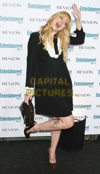 ALEXANDRA BRECKENRIDGE .6th Annual Entertainment Weekly Pre-Emmy Awards Party.at the Beverly Hills Post Office, Beverly Hills, CA, USA, September 20th 2008..full length black dress brown shoes clutch bag white cuffs hand funny pose .CAP/LNC/TOM.©LNC/Capital Pictures
