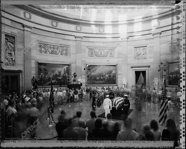 Ronald Reagan the former two-term American president lies in state at the US Capitol Rotunda. Washington DC, USA, June 10, 2004