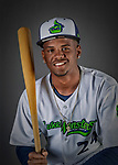 11 June 2019: Vermont Lake Monsters outfielder Kevin Richards poses for a portrait on Photo Day at Centennial Field in Burlington, Vermont. The Lake Monsters are the Single-A minor league affiliate of the Oakland Athletics and play a short season in the NY Penn League Stedler Division. Mandatory Credit: Ed Wolfstein Photo *** RAW (NEF) Image File Available ***