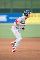Carlos Tocci (15) of the Lakewood BlueClaws takes his lead off of second base against the Kannapolis Intimidators at CMC-Northeast Stadium on May 16, 2015 in Kannapolis, North Carolina.  The BlueClaws defeated the Intimidators 9-7.  (Brian Westerholt/Four Seam Images)