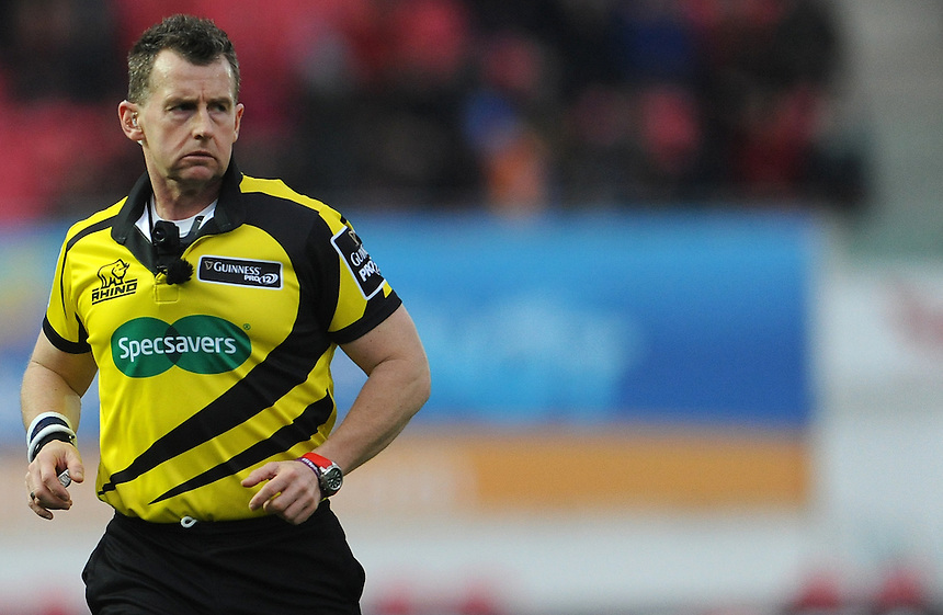 Referee Nigel Owens in action during todays match<br /> <br /> Photographer Ian Cook/CameraSport<br /> <br /> Rugby Union - Guinness Pro12 Round 10 - Scarlets v Ospreys - Saturday 26th December 2015 - Parc y Scarlets - Llanelli<br /> <br /> &copy; CameraSport - 43 Linden Ave. Countesthorpe. Leicester. England. LE8 5PG - Tel: +44 (0) 116 277 4147 - admin@camerasport.com - www.camerasport.com