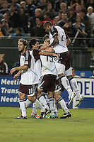 Colorado Rapids celebrate after a goal during the Colorado Rapids 2-1 victory over the San Jose Earthquakes at Buck Shaw Stadium in Santa Clara, California.