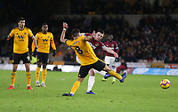 West Ham United's Declan Rice with shot at goal<br /> <br /> Photographer Rob Newell/CameraSport<br /> <br /> The Premier League - Wolverhampton Wanderers v West Ham United - Tuesday 29th January 2019 - Molineux - Wolverhampton<br /> <br /> World Copyright © 2019 CameraSport. All rights reserved. 43 Linden Ave. Countesthorpe. Leicester. England. LE8 5PG - Tel: +44 (0) 116 277 4147 - admin@camerasport.com - www.camerasport.com
