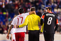 Tim Cahill (17) of the New York Red Bulls and referee Mark Geiger after arguing. D. C. United defeated the New York Red Bulls 1-0 (2-1 in aggregate) during the second leg of the MLS Eastern Conference Semifinals at Red Bull Arena in Harrison, NJ, on November 8, 2012.