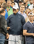 """Uncle Tony"" looks on as Rafael Nadal (ESP) beats Novak Djokovic (SRB) 2-6, 6-3, 6-4, 6-1 in the men's final at the US Open being played at USTA Billie Jean King National Tennis Center in Flushing, NY on September 9, 2013"