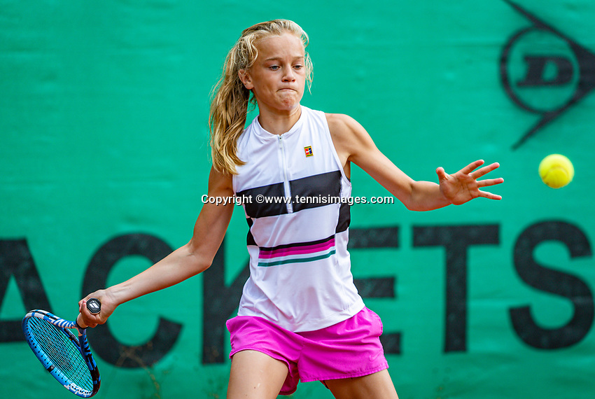 Hilversum, Netherlands, Juli 31, 2019, Tulip Tennis center, National Junior Tennis Championships 12 and 14 years, NJK, Girls Doubles: Evi Roobol (NED)<br /> Photo: Tennisimages/Henk Koster