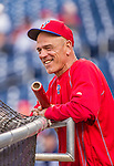 22 May 2015: Philadelphia Phillies Assistant Hitting Coach John Mizerock watches batting practice prior to a game against the Washington Nationals at Nationals Park in Washington, DC. The Nationals defeated the Phillies 2-1 in the first game of their 3-game weekend series. Mandatory Credit: Ed Wolfstein Photo *** RAW (NEF) Image File Available ***